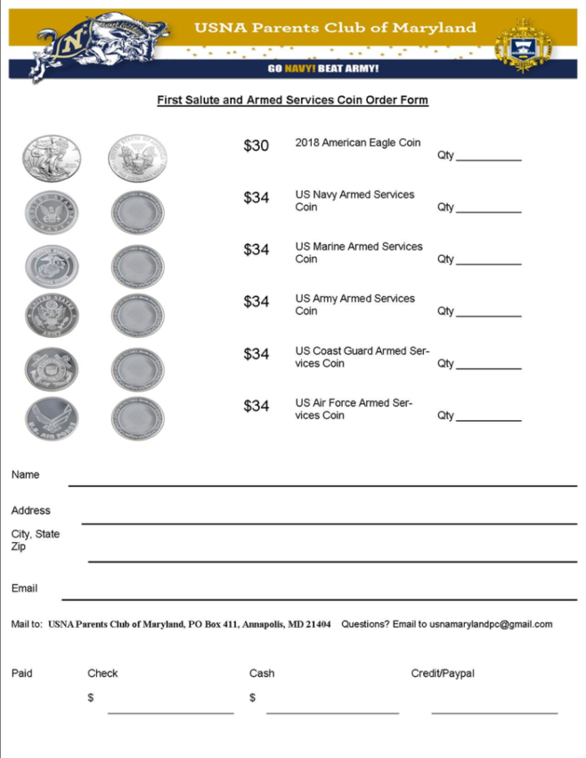 First Salute Coin Order Form